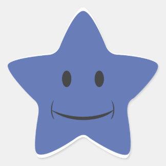 Pegatina sonriente azul