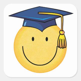 Pegatina sonriente de la cara de la graduación