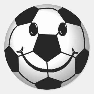 Pegatina sonriente de la cara del balón de fútbol