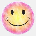Pegatina sonriente de la cara del teñido anudado