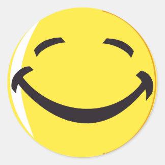 ¡Pegatina sonriente de la cara! Pegatina Redonda