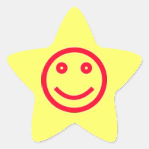 Pegatina sonriente de la estrella de la cara