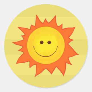 Pegatina sonriente feliz de Sun