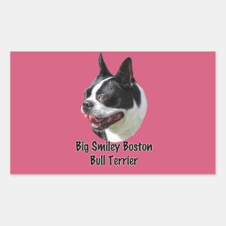 Pegatina sonriente grande de Boston bull terrier Pegatina Rectangular