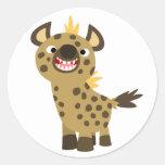 Pegatina sonriente lindo del Hyena del dibujo