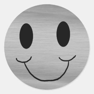 Pegatina sonriente metálico