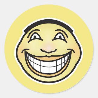 Pegatina sonriente ultra feliz de la cara