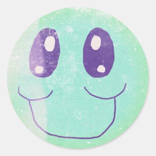 Pegatina sonriente verde y azul del vintage de la