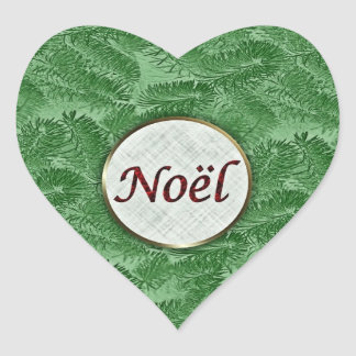 Pegatina Spruce verde del corazón de Noel del fran