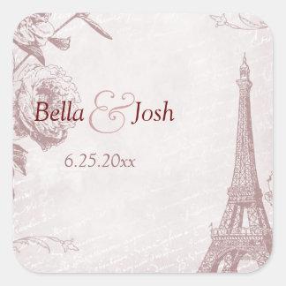Pegatina subió vintage del boda de la torre Eiffel