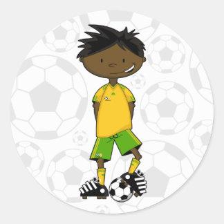 Pegatina surafricano del muchacho del fútbol
