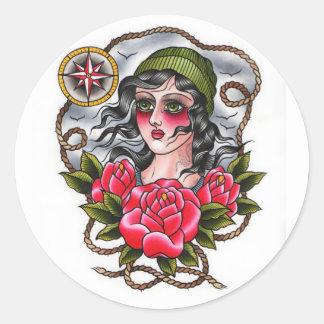 Pegatina tatuado del chica del marinero