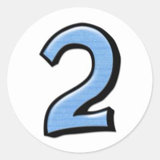 Pegatina tonto del azul de los números 2