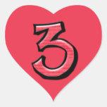 Pegatina tonto del corazón del rojo del número 3