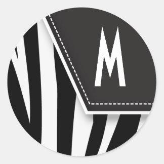 Pegatina tonto del monograma de la cebra (negro)
