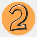 Pegatina tonto del naranja del número 2