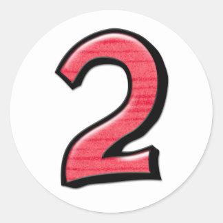 Pegatina tonto del rojo del número 2