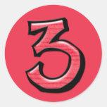 Pegatina tonto del rojo del número 3