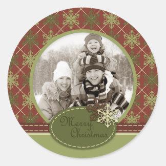 Pegatina tradicional 2 de la foto del navidad