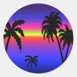 Pegatina tropical de la puesta del sol de las