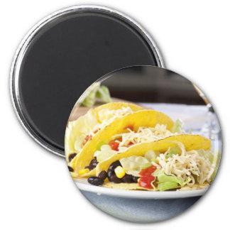 Pegatina vegetariano de tres Tacos Imán Redondo 5 Cm