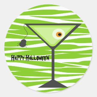 Pegatina verde de Halloween del cóctel del globo