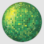 Pegatina verde de la bola de discoteca