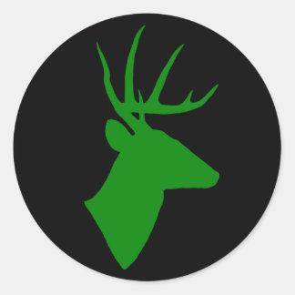 Pegatina verde de la cabeza de los ciervos