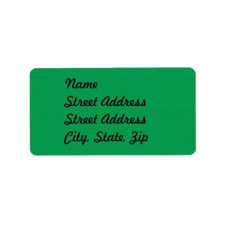 Pegatina verde de la dirección etiquetas de dirección