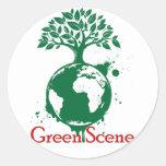 Pegatina verde de la escena