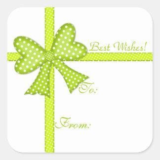 Pegatina verde de la etiqueta del regalo del arco