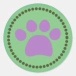 Pegatina verde de la impresión de la pata