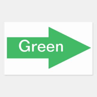 Pegatina verde de la muestra de la flecha