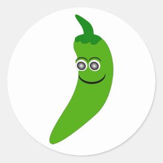 Pegatina verde de la pimienta de chile