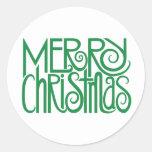 Pegatina verde de las Felices Navidad