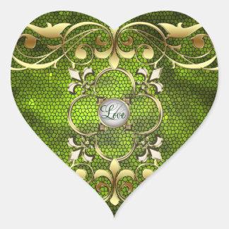 Pegatina verde del amor del vitral del corazón del