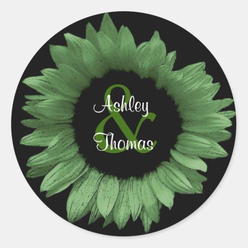 Pegatina verde del boda del girasol