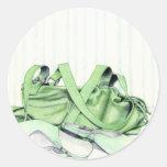 Pegatina verde del bolso y de los zapatos
