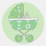 Pegatina verde del carro de bebé