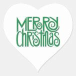 Pegatina verde del corazón de las Felices Navidad