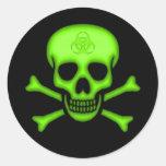 Pegatina verde del cráneo del Biohazard