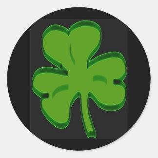 Pegatina verde del día de San Patricio del trébol