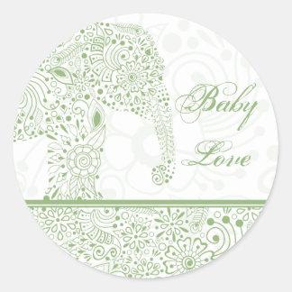 Pegatina verde del elefante del amor del bebé