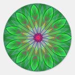 Pegatina verde del fractal de la etiqueta de la