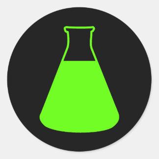 Pegatina verde del frasco de Erlenmeyer