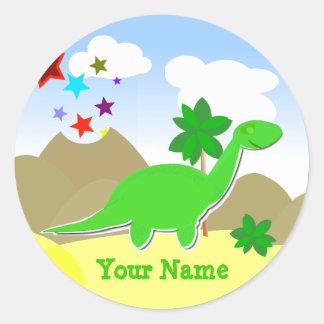 Pegatina verde del nombre del dinosaurio del