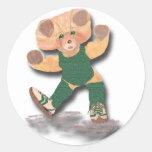 Pegatina verde del oso de peluche del ejercicio
