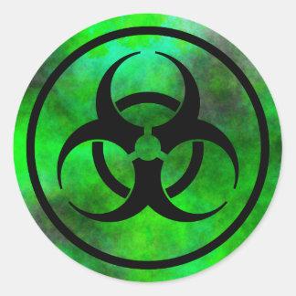 Pegatina verde del símbolo del Biohazard de la
