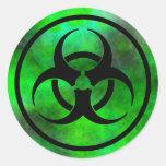Pegatina verde del símbolo del Biohazard de la nie