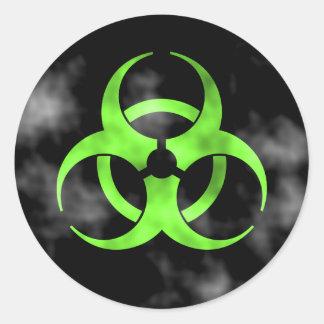 Pegatina verde del símbolo del Biohazard que fuma